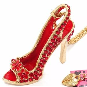 Red rhinestone high heels necklace